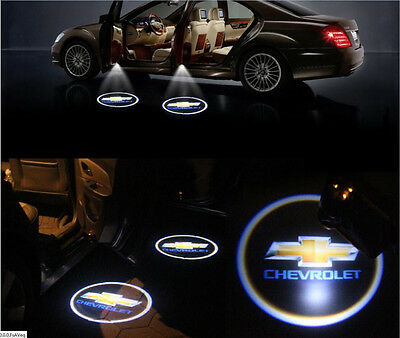 2pcs Wireless Car LED Door Projector Logo Ghost Shadow Light Fit For Chevrolet