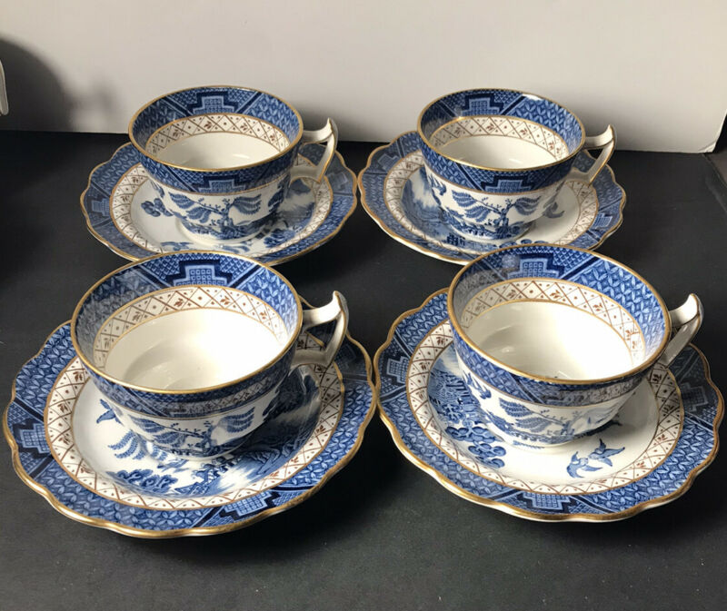 4 Sets Vintage Booths REAL OLD WILLOW Cups & Saucers Blue A8025 Royal Doulton