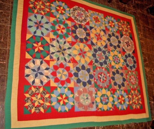 Antique Star of Le Moyne Garden Quilt  90 x 80 Turkey Red Back 9 spi