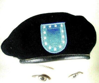 Cheap Military Hats (Standard U.S. Army Blue Beret Flash Black Class 6 Military Hat Wool Cap Sz 7)