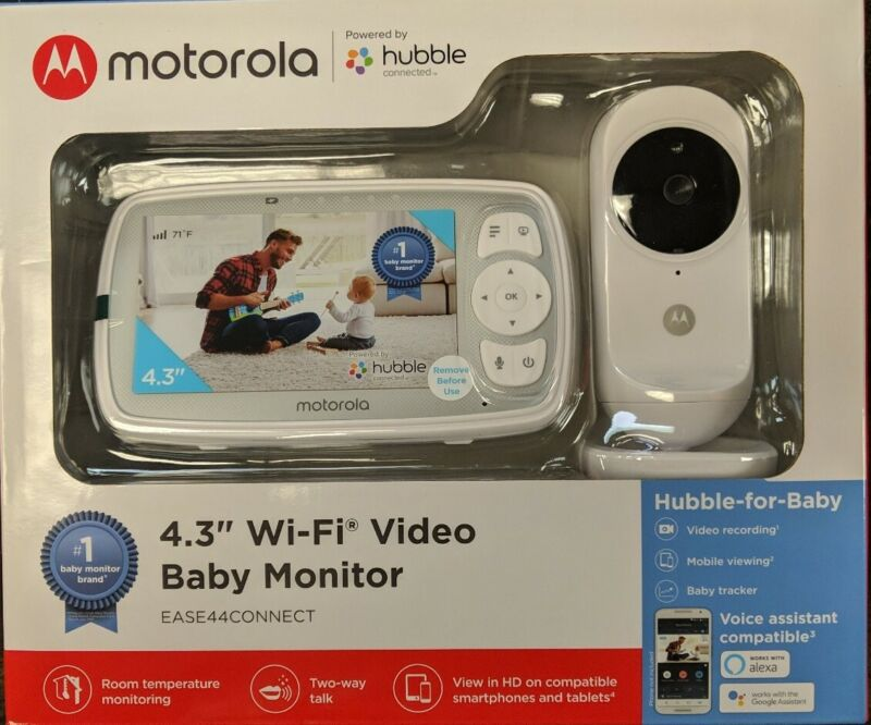 "Motorola Ease44Connect Wi-Fi Video Baby Monitor W/ 4.3"" HD Color Screen - New"