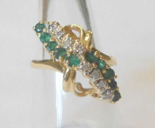 Unique Vintage 2 Row Tiered Emerald & Diamond 14K Yellow Gold Ladies Ring Size 8