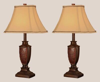 Table Lamp Set of 2 Antique Style Desk Light Nightstand Lamps Reddish Brown (Antiqued Brown Table Lamp)