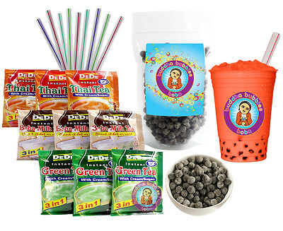 DeDe Instant Boba Tea Kit 9 Drink Packets, Straws & Boba Thai, Milk & Green Tea