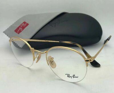 New RAY-BAN Rx-able Round Eyeglasses RB 3947V 2500 48-22 Semi Rimless Gold (Round Frameless Glasses)