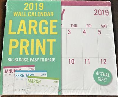 """NEW 2019 Calendar Large Print Wall 11""""x12"""" W w"""