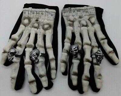 Biker Skeleton Bone Gloves Racing Cycling Motorcycle Mechanics Goth Halloween - Biker Gloves Halloween