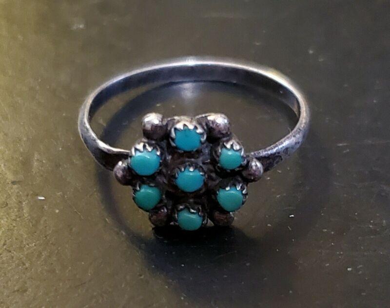 """Vintage Navajo Silver Satellite Ring Size:6-3/4 (7) Turquoise Stones 3/8"""" Dia."""