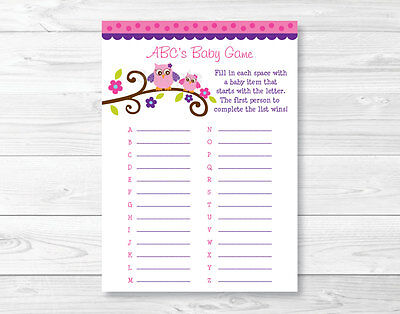 Girl Owl Blossom Pink & Purple Baby Shower Baby ABCs Game - Purple Owl Baby Shower