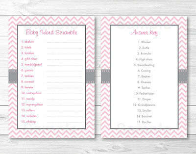 Modern Baby Shower Games (Modern Pink Chevron Printable Baby Shower