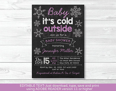 Baby its cold outside Purple Snowflake Baby Shower Invitation Editable PDF](Snowflake Baby Shower)
