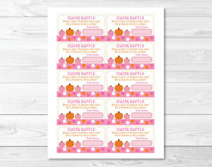 ... Pink Pumpkin Fall Harvest Printable Baby Shower Diaper Raffle Tickets