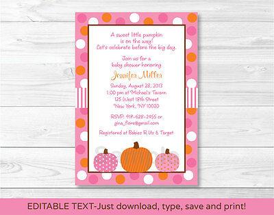 Pink Pumpkin Fall Harvest Printable Baby Shower Invitation Editable PDF](Pumpkin Baby Shower Invitations)