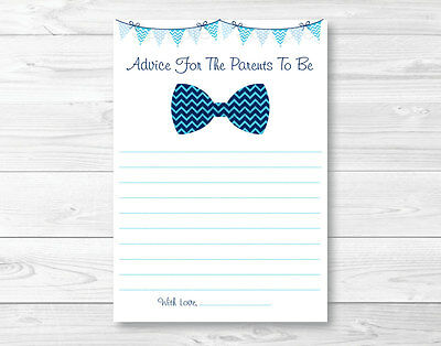 Mommy Advice Cards (Chevron Bow Tie Printable Baby Shower Mommy Advice)