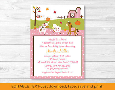 Fall Pink Farm Animal Pumpkin Printable Baby Shower Invitation Editable PDF](Pumpkin Baby Shower Invitations)