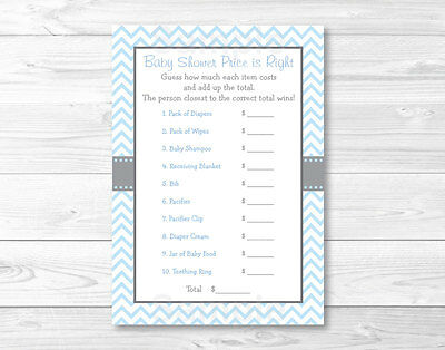 Modern Baby Shower Games (Modern Baby Blue Chevron Printable Baby Shower