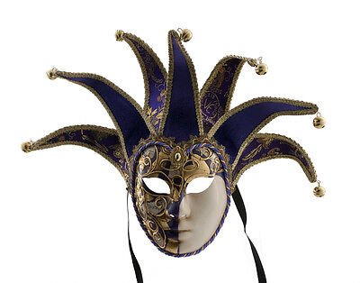 Mask from Venice Volto Jolly Purple and Golden 7 Spikes Musica 1584 VG27