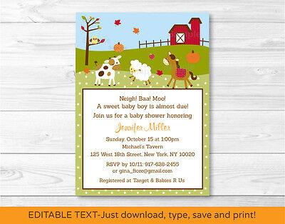 Fall Farm Animal Pumpkin Printable Baby Shower Invitation Editable PDF](Pumpkin Baby Shower Invitations)