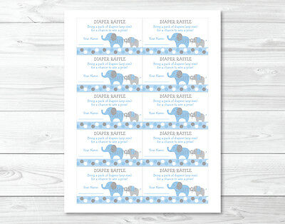 Blue and Grey Polka Dot Elephant Printable Baby Shower Diaper Raffle Tickets
