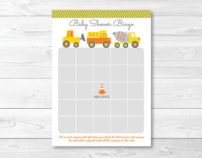 Yellow Construction Trucks Printable Baby Shower Bingo Cards