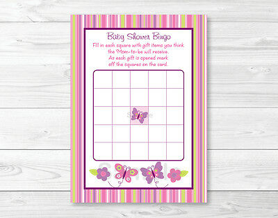 Baby Girl Pink Butterfly Printable Baby Shower Bingo Cards