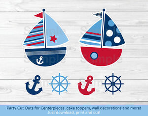 Nautical Sailboat Blue & Red Party Cutouts Decorations Printable