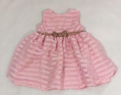 Penelope Mack Baby Girls Dress 6-9 Month Pink Embellished Lined Button Back