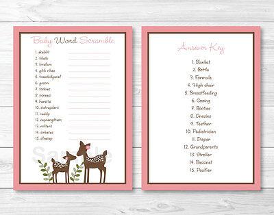Word Scramble Game (Pink Willow Deer Printable Baby Shower