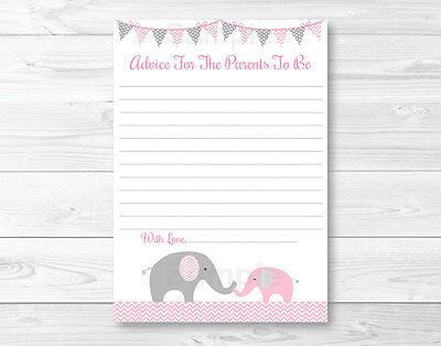 Mommy Advice Cards (Pink Elephant Chevron Printable Baby Shower Mommy Advice)