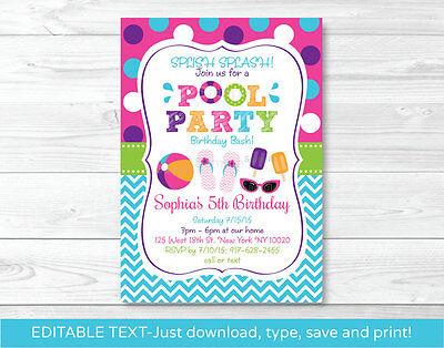 Girls Pool Party Printable Birthday Invitation Editable PDF - Pool Party Invites