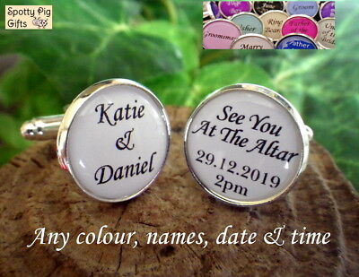 Personalised Cufflinks Wedding, Gift From Bride to Groom, Names Date Time, Mens