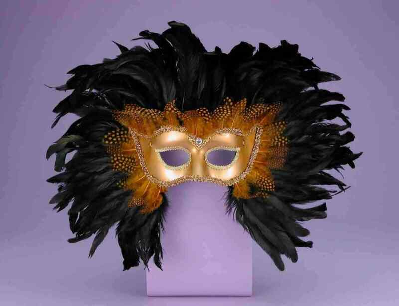 Costume Accessory- Venetian Half Style Mardi Gras Deluxe Feather Mask