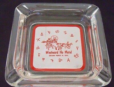VTG Westward Ho Motel Grand Forks N. Dakota Ashtray Conestoga Wagon Clear Glass