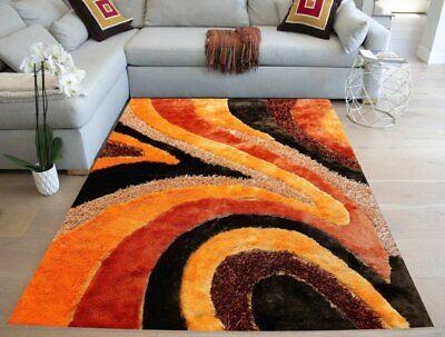 Orange Beige Brown Shag Area Rug Hand Tufted 8'x10' Large Li