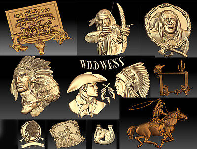 3d Stl Models For Cnc Router Mill - Vectric Rlf Artcam Cowboys And Amerids