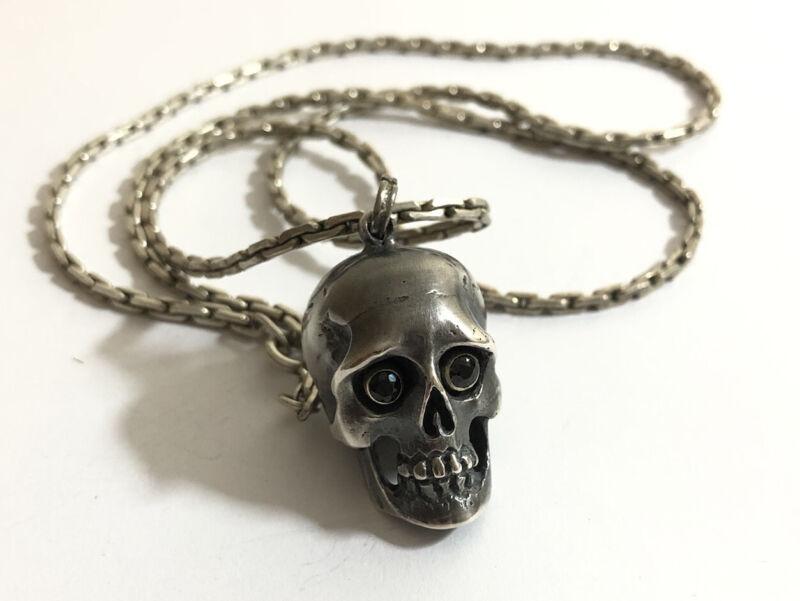 Fine Sterling Silver Black Diamond Memento Mori Skull Pendant & Chain 67 Grams