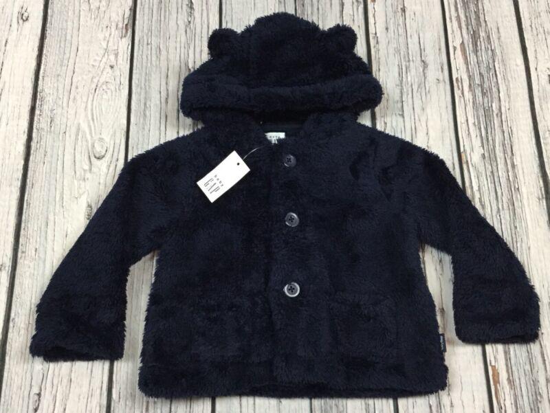 Baby Gap Boys 6-12 Month Navy Blue Soft Fluffy Jacket With Bear Ears. Nwt