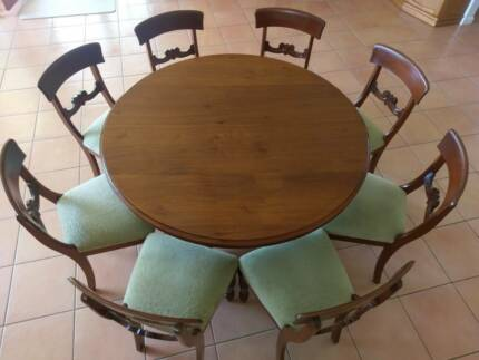 1970s Carved Polished Wood Velvet Fabric Dining Suite