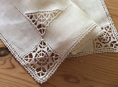 """Vintage Italian Reticella Needlelace On Natural Linen Table Topper 22""""/14"""""""