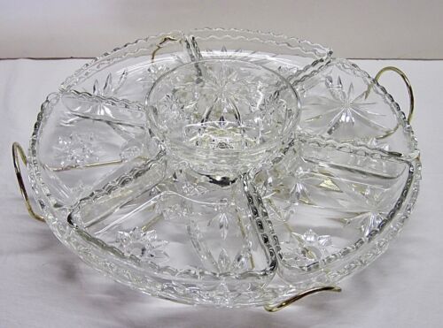 """Vintage Large Star of David Pressed EAPC Glass Lazy Susan Serving Tray - 13 1/2"""""""