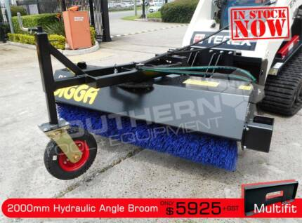 Digga 2000 mm Hydraulic Angle Broom Sweeper suit Skid & Tractors