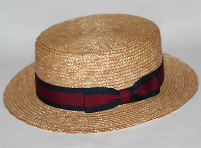NAUTICAL Italian Venice Natural Color WHEAT STRAW SKIMMER DERBY BOATER HAT M L (Italian Skimmer Hat)