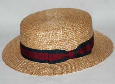 NAUTICAL Italian Venice Natural Color WHEAT STRAW SKIMMER DERBY BOATER HAT M L - Italian Skimmer Hat