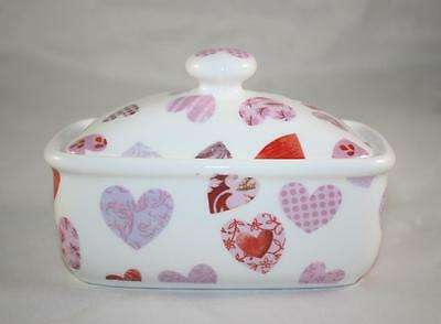 BONE CHINA BUTTER DISH LOVE HEARTS PINK & RED HAND DECORATED IN ENGLAND NEW