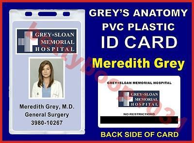 Grey's Anatomy ID Badge Card Prop - GREY+SLOAN MEMORIAL HOSPITAL - Meredith Grey