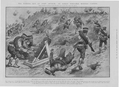 1904 Antique Print - PORT ARTHUR Japanese Bamboo Gun Infantry Assault (357)