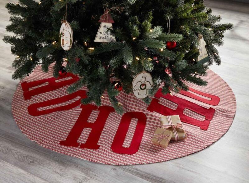 "Mud Pie ""HO HO HO"" Red Striped Santa Farmhouse Christmas Tree Skirt 54"" Wide"