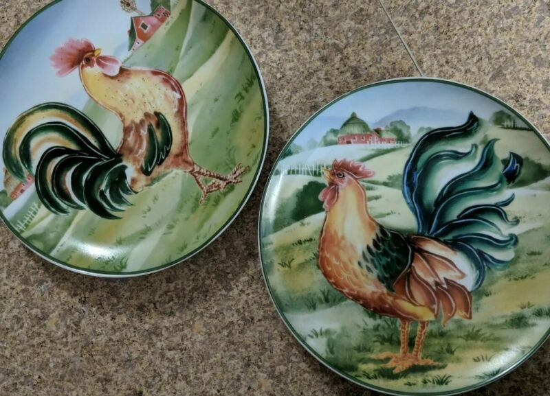 """2 Ceramic Decorative Plates Rooster Chicken Hen Beautiful 8"""" Plates"""