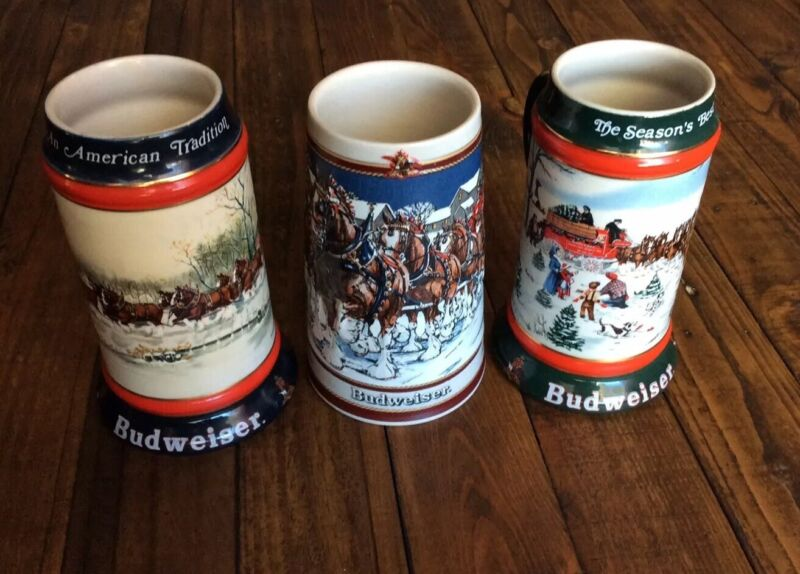 Budweiser Holiday Steins 1989, 1990, 1991 Lot Of 3