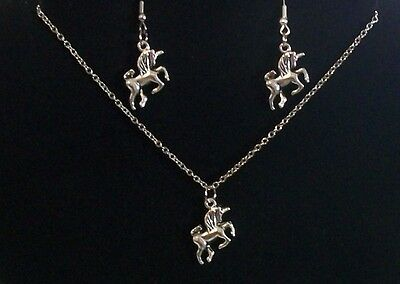 Pretty 304 Stainless Steel & Antique Silver Unicorn Charm Necklace and Earrings